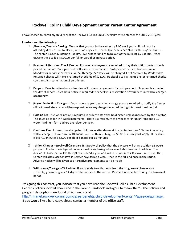 thumbnail of Center & Parent Agreement